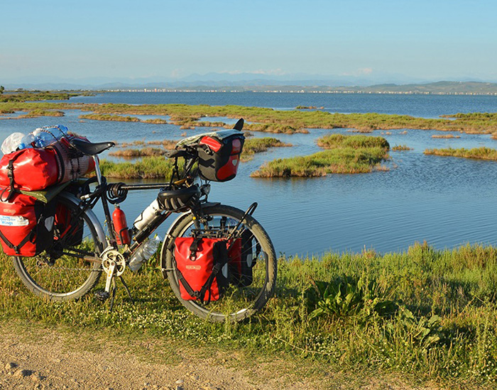 Cycling in Karavasta Lagoon